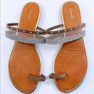 🔴3/$20 QUPID Rhinestone Toe Ring Sandal